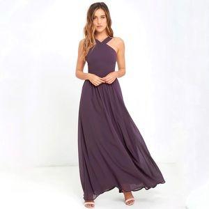 NEW Lulu's Air of Romance Dusty Purple Maxi Dress